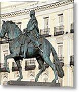 King Charles IIi Statue On Puerta Del Sol Metal Print