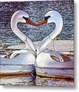 Kissing Swans Metal Print