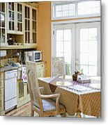 Kitchen Cabinets And Table Metal Print
