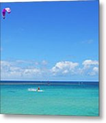 Kitesurfing In Kauai Metal Print
