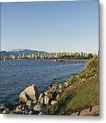 Kitsilano Beach And Vancouver Skyline Metal Print