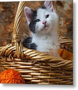 Kitten In Basket With Orange Yarn Metal Print