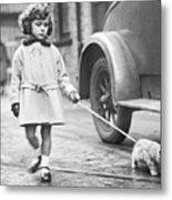 Kitten On Lead Metal Print by Fox Photos