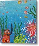 Kittyboy Goes Snorkeling Metal Print