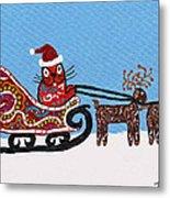 Kityboy Helps Santa Metal Print