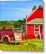 Klamath Old Fire Truck And Red School House Metal Print by Gregory Dyer