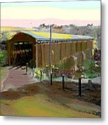 Knights Ferry Covered Bridge Metal Print by Charles Shoup