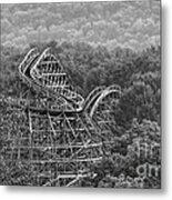 Knobels Wooden Roller Coaster Black And White Metal Print