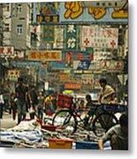 Kowloon Street With Workers Setting Metal Print