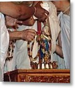 Krishna And Priests Metal Print