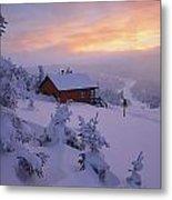 La Chouette Cabin At Twilight, Gaspesie Metal Print