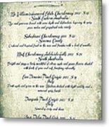 La Familia Wine List 2003 Canvas Art Metal Print