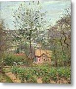 La Maison Rose Metal Print by Camille Pissarro