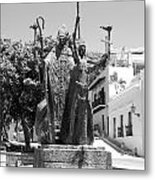 La Rogativa Sculpture Old San Juan Puerto Rico Black And White Metal Print by Shawn O'Brien