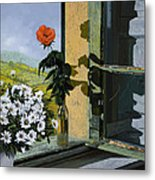 La Rosa Alla Finestra Metal Print by Guido Borelli