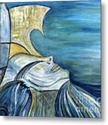 Beautiful Mysterious Blue Woman Portrait La Sirene French For Mermaid Mythic Siren Original Painting Metal Print