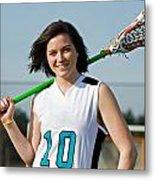 Lacrosse Girl Metal Print