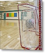 Lacrosse Goals In A Gymnasium Metal Print by Marlene Ford