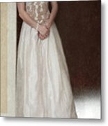Lacy In Ecru Lace Gown Metal Print