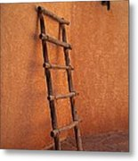 Ladder Against Adobe Wall Metal Print