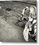Lady And A Dog Metal Print