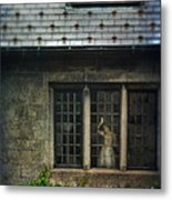 Lady By Window Of Tudor Mansion Metal Print