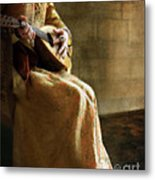 Lady In 16th Century Clothing With A Mandolin Metal Print