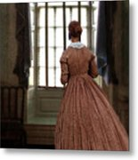 Lady In 19th Century Clothing Looking Out Window Metal Print
