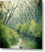 Lady In A Row Boat On A River Metal Print