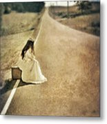 Lady In Gown Sitting By Road On Suitcase Metal Print