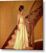 Lady In Lace Gown On Staircase Metal Print