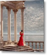 Lady In Red Gown By The Sea Metal Print