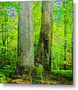 Lady In The Woods Metal Print