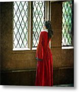 Lady In Tudor Gown Looking Out A Window Metal Print