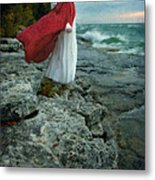 Lady In Vintage Clothing By The Sea Metal Print