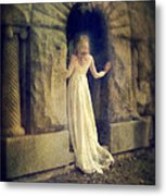 Lady In White Gown In Doorway Metal Print
