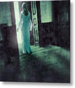 Lady In White Gown Walking Through A Mysterious Doorway Metal Print