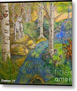 Lady Of The White Birch Metal Print