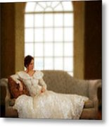 Lady Sitting On Sofa By Window Metal Print