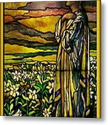 Lady Stained Glass Window Metal Print by Thomas Woolworth