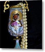 Lady Vase And Pearls Metal Print