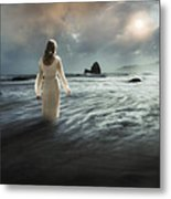 Lady Wading Into The Sea In The Early Morning Metal Print