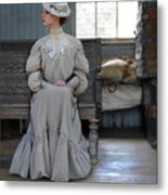 Lady Waiting In Train Depot Metal Print