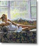 Lady With A Book Metal Print