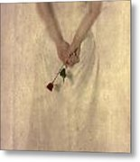 Lady With A Rose Metal Print