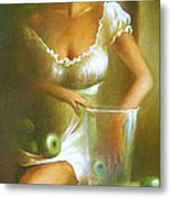 Lady With Green Apples Metal Print