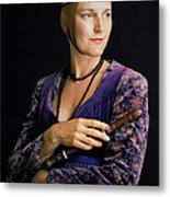 Lady With Recorder Metal Print
