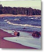 Lake Superior Beach Waves  Metal Print