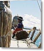 Lake Titicaca Reed Boat Metal Print