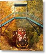 Lake Winnipesaukee New Hampshire Railroad Train In Autumn Foliage Metal Print